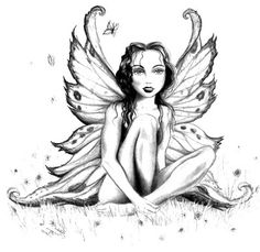 Cute Fairy Tattoos on Fairy Tattoo Beautiful Fairy Sketch Fairy Coloring Pages, Adult Coloring Pages, Coloring Books, Coloring Sheets, Free Coloring, Tattoo Und Piercing, Fairy Sketch, Engel Tattoo, Fairies Photos