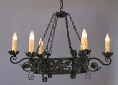 SOLD 2300. 1920's Wrought Iron Chandelier With Oak Leaves Pattern