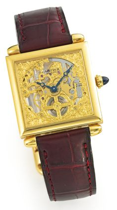 Cartier A FINE LIMITED EDITION YELLOW GOLD SKELETONIZED SQUARE WRISTWATCH NO 022/100 CARRÉE OBUS COLLECTION PRIVÉE SKELETON CIRCA 2002 • cal. 435 MC finely engraved gilt-finished lever movement, 18 jewels, mono-metallic balance • finely engraved skeletonized dial with blued steel hands • 18k yellow gold square case with ogival lugs, cabochon sapphire crown, sapphire crystal display back secured by eight screws • case and movement signed • with an 18k yellow gold Cartier deployant clasp