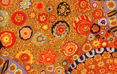 Millefiore/Brown by Kaffe Fassett  One Half Yard by fabricpalooza, $4.50 ~ Love this, looks like a Gustav Klimt painting!