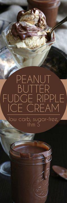 Low Carb Peanut Butter Fudge Ripple Ice Cream - sugar-free, grain-free, trim healthy mama, banting, ketogenic