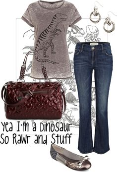 """""""T. rex is cool"""" by jesskvjt ❤ liked on Polyvore"""