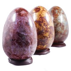A sophisticated trio of marbled, single origin chocolate Easter Eggs from Zara's Chocolates in Bristol, UK.