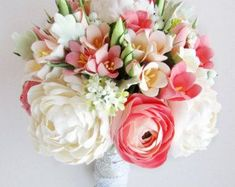 Coral, mint bridal bouquet and boutonniere. Coral bouquet, ivory peony, peach freesia. Ranunculus bouquet, real touch flowers