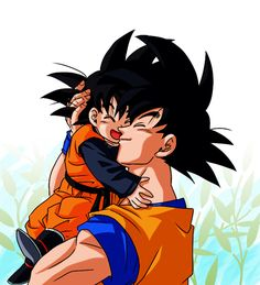 Goku and Goten from the Dragon Ball Z anime Dragon Ball Gt, Goku Dragon, Gohan And Goten, Dbz Vegeta, Goku Vs, Couples Anime, Goku Super, Anime Characters, Comic