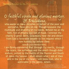 Our St Philomena Story by Rita Davidson I remember it distinctly, our only van was lost, out of commission and we were without a vehicle. Roman Catholic Prayers, Catholic Doctrine, Catholic Saints, Novenas Catholic, Saint Philomena, Prayer For Church, Novena Prayers, Prayer Board, Morning Prayers