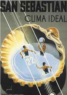 By Prieto, San Sebastian, Clima ideal. Vintage travel Beach poster art Deco #essenzadiriviera www.varaldocosmetica.it/en