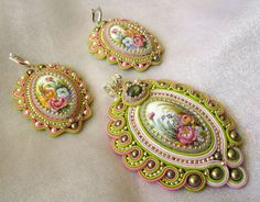 Set Spring. Earrings and Pendant.♡ by intalasa on Etsy