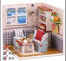FPP DIY Puppenhaus Puppenhaus Holz Süßen Erinnerungen Mit Möbel Kit LED Box Geschenk(China (Mainland))