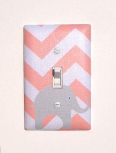 Gray and Peach Chevron Elephant Light Switch Plate / Light Coral Pink Baby Nursery Decor / Slightly Smitten Kitten on Etsy, $16.00