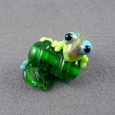 Glass Gecko Lampwork Lizard Bead Focal SRA Animal by 2CoolBeads, $18.00