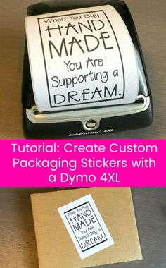Tutorial: How to Create Custom Packaging Stickers with a Dymo - Great for Silhouette Cameo or Cricut Explore or Maker Small Business Owners - by cuttingforbusines. Etsy Business, Craft Business, Business Ideas, Business Hair, Crafts To Sell, Crafts For Kids, Diy Crafts, Crafts For Sale, Preschool Crafts