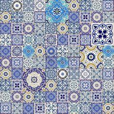 motif tissu indigo: Mega patchwork transparente magnifique de tuiles colorées marocaines, ornements. Peut être utilisé pour le papier peint, motifs de remplissage, fond de page web, des textures de surface.