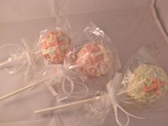 Idea for Communion cake pops to do for customer 5/5/12 (50 qty), white with silver cross and silver ribbon