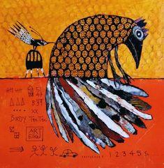 Mad Women, Outsider Art, Whimsical Art, Bird Art, Moose Art, Collage, Birds, Paintings, Woman