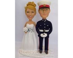 Buy custom wedding cake topper with the groom in his Marine Uniform by honeymeng. Explore more products on http://honeymeng.etsy.com