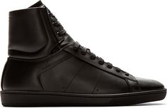 Saint Laurent - Black Leather Court Classic High-Top Sneakers