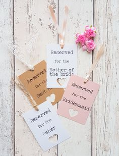 Rustic Wedding Reserved Sign Tags. Soft Pink, White or Kraft, with Heart Cut Out Detail. Handmade with Lace, Twine or Ribbon. Wedding Sign. by SomethingBlueByZara on Etsy