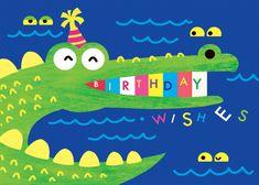 Whimsical crocodile - Happy Birthday Card  #greetingcards #printable #diy #birthday