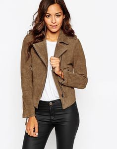 Image 1 of ASOS Suede Biker Jacket in Oil Wash