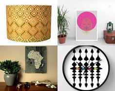 Modern Global Home Accents by MAIDDESIGN on Etsy--Pinned+with+TreasuryPin.com  Every home & space needs a little touch of African decor  Detola and Geek, Handmade Lampshade, African Lampshade, African Home Decor, Wall Clock, Geometric, Man Cave Decor, Map of Africa, African Map, Wall Art, Interior Design, Lighting,  Wall Clock, Printable