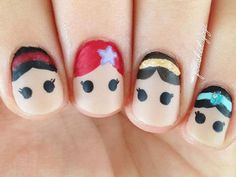 Are you looking for cute disney nail art designs Nail designs like cute Mickey Mouse, beautiful Cinderella, and icy Frozen will surely brighten up your day just by looking at your nails! Disney Nail Designs, Cute Nail Designs, Nail Designs For Kids, Princess Nail Designs, Trendy Nails, Cute Nails, Disney Princess Nails, Disney Princesses, Disney Inspired Nails