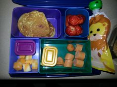 Kid Bento Lunch -Coconut Flour Pancakes -Strawberries -Apple Butternut Squash Sauce (in Squooshi) -Chocolate Covered Sunflower Seeds -Cheese Stick -Hot Dog w/ Ketchup