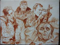 DAWN OF THE DEAD tribute painting, WIP by R. F. Pangborn, 2015.
