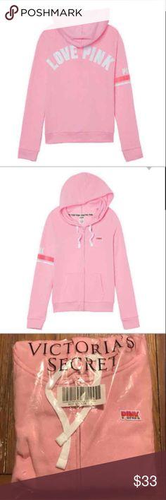 🆕Victoria's Secret Pink full zip hoodie New in package  Victoria's Secret Pink perfect full zip hoodie sweatshirt  Super soft Fleece Size medium PINK Victoria's Secret Tops Sweatshirts & Hoodies