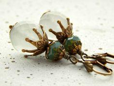 Ohrringe - Frostet Green von Perlenfontäne auf DaWanda.com