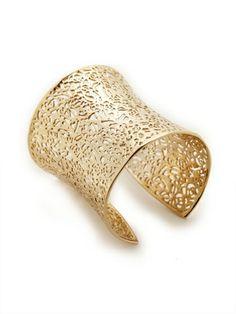 Becca Gold Cuff Bracelet /  Kendra Scott Jewelry / Rs.6482  14K yellow gold plated brass wide cuff bracelet with filigree details