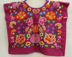 Tehuana mexicano bordado huipil Borgoña satén por LivingTextiles