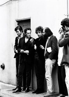 Robbie Robertson, Michael McClure, Bob Dylan and Allen Ginsberg