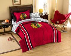 Chicago Blackhawks Twin Comforter Set $129.99 http://www.fansedge.com/Chicago-Blackhawks-Twin-Comforter-Set-_-901782689_PD.html?social=pinterest_pfid23-52525