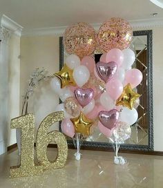 Decoration Birthday Party Ideas Create your perfect party with various decorations like the picture below!Choose from some of plain and themed birthday party decorations including banners, bunting, paper decorations, pom poms,baloon and more. Quinceanera Decorations, Quinceanera Party, Balloon Decorations, Rose Gold Party Decorations, Balloon Display, Balloon Centerpieces, Balloon Ideas, Shower Centerpieces, Table Decorations