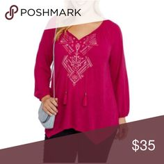 PINK Plus-size peasant top NEW Stay on the cutting edge of fashion and refresh your spring wardrobe with this women's plus-size peasant top. This long-sleeve shirt has a variety of elegant details, including an embroidered design and a set of tassels on the front, and a trendy shark bite hem that's longer on the sides. A wide V neckline completes the top, which has a relaxed peasant-style fit and pairs beautifully with jeans, leggings and slacks for a comfortable cool-weather ensemble…