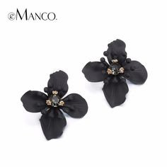 Trending Now Flower Statement Stud Earrings for Women & Girl Black Rhinestone Metal Brand Jewelry for Summer Love it? #Jewelry #shop #beauty #Woman's fashion #Products
