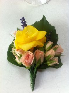 A buttonhole made at one of our Wedding Flowers courses, by one of our lovely students