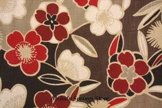 Red Blossom Floral Table Runner Rectangular by MelodySpringsStore