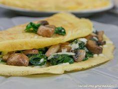 Variations Gourmandes: Crêpes salées à la farine de pois chiche, épinards, champignons et mozzarella (sans gluten)