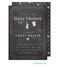 Pink Hearts, laundry line, tiny socks, bunny rabbit, and oneise- SO cute! Chalkboard Baby Shower invitation for a girl. Use any wording for shower or sprinkle | Little Angel Announcements