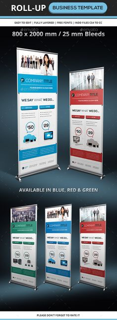 Corporate & Business Rollup Template by franceschi_rene Features : Compatible with Indesign CS4 to CC8002000 mm (31.578.74 inches) with bleeds 25 mmPrint ready // 200 dpi for the photos