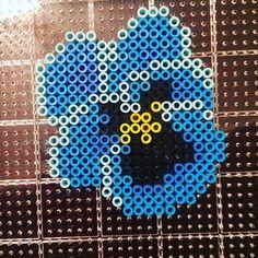 Pansy flower perler beads by shadestarhemp
