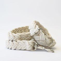 Handcrafted in Brooklyn, NY, this collar is made for the nautical dog and constructed of braided Sunbrella cording and nickel plated solid brass hardware.