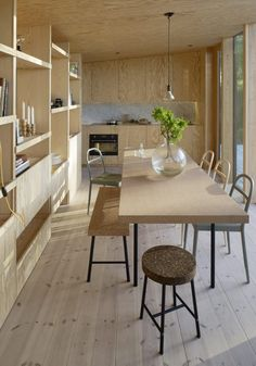 Aspvik House - Small House - Andreas Martin Löf Arkitekter - Sweden - Living and Dining Area - Humble Homes Plywood Interior, Plywood Furniture, Furniture Design, Glass Furniture, Scandinavian Interior Design, Scandinavian Home, Nordic Design, Architect House, Architect Design
