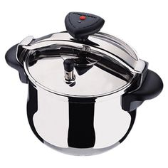 Stainless steel pressure cooker with 2 safety clamps and 2 safety valves.  Product: Pressure cookerConstruction Mate...