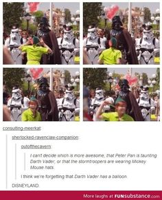 Meanwhile at Disneyland. Peter Pan and Star Wars need to interact more often. Because of yes. more funny pics on facebook: https://www.facebook.com/yourfunnypics101