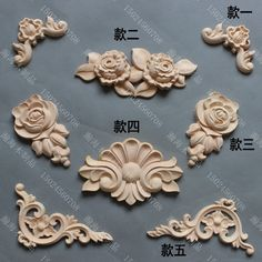 Fashion furniture carved solid wood decoration applique cabinet door motif carved corner flower rose flakes-inWood Crafts from Home & Garden on Aliexpress.com | Alibaba Group