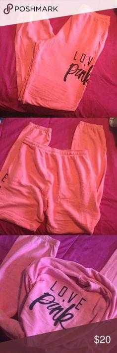 Victoria secret pink sweats Size S but fit like a L over sized PINK Victoria's Secret Pants Track Pants & Joggers