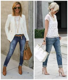 White lace and boyfriend jeans a still a big trend for S2015.